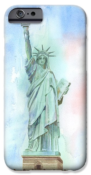 Statue Of Liberty Paintings iPhone Cases - Lady Liberty iPhone Case by Arline Wagner