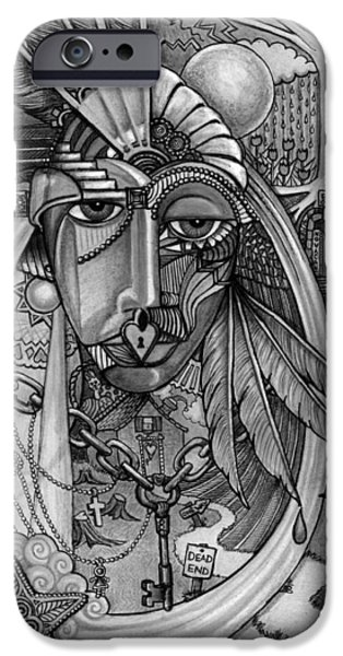 Torn Drawings iPhone Cases - Lady Liberty - Bw iPhone Case by Caroline Czelatko