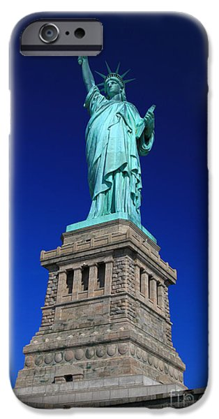 4th July Photographs iPhone Cases - Lady Liberty Ellis Island NYC iPhone Case by Wayne Moran