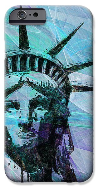 Patriots iPhone Cases - Lady Liberty Head 20150928p150 iPhone Case by Wingsdomain Art and Photography