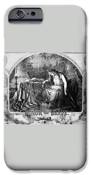 Lady Liberty Mourns During The Civil War iPhone Case by War Is Hell Store