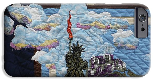 Cities Tapestries - Textiles iPhone Cases - Lady Liberty iPhone Case by Shirley Goss