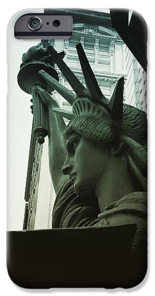 Fourth Of July iPhone Cases - Lady Liberty Takes Midtown iPhone Case by Miriam Danar