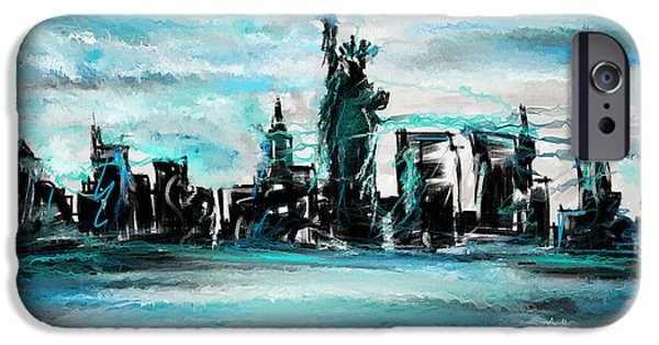 Liberty Paintings iPhone Cases - Lady Of Liberty Turquoise iPhone Case by Lourry Legarde