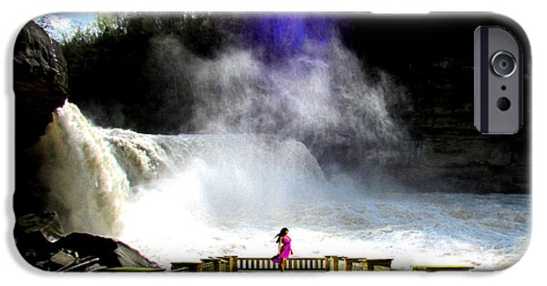 Balcony iPhone Cases - Lady of the Falls iPhone Case by Michael Rucker