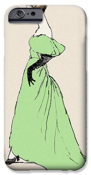Opera Gloves iPhone Cases - Lady on a Wire iPhone Case by H James Hoff