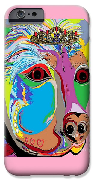 Puppies Digital Art iPhone Cases - Lady Rottweiler iPhone Case by Eloise Schneider