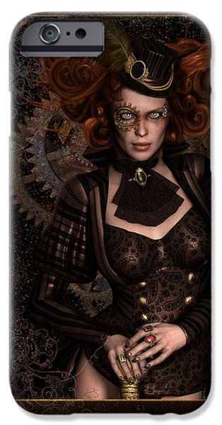 Hairstyle iPhone Cases - Lady Steampunk iPhone Case by Shanina Conway