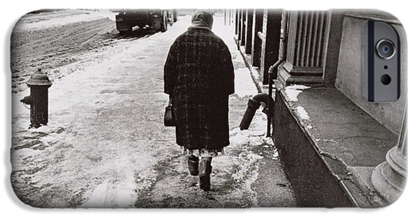 Fire Hydrant iPhone Cases - Lady Walking towards Canal Street on a Snowy Street iPhone Case by Nat Herz
