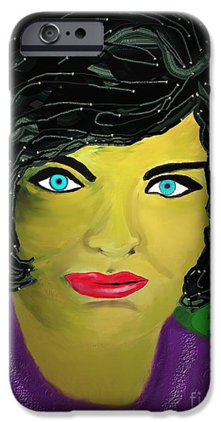 First Lady iPhone Cases - Lady  with blue eyes iPhone Case by Mira Dimitrijevic