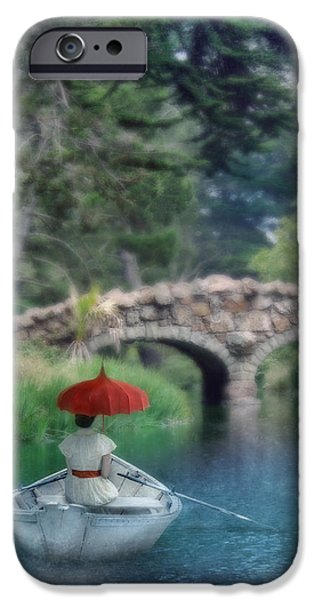 Sea Watch iPhone Cases - Lady with Parasol in Boat iPhone Case by Jill Battaglia