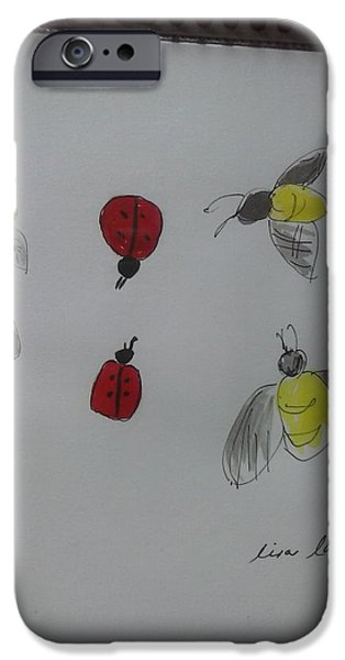 Insects Tapestries - Textiles iPhone Cases - Ladybug and bees iPhone Case by Lisa LaMonica
