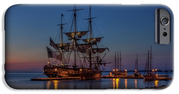 Yorktown Virginia iPhone Cases - Lafayettes Hermione Voyage 2015 iPhone Case by Jerry Gammon