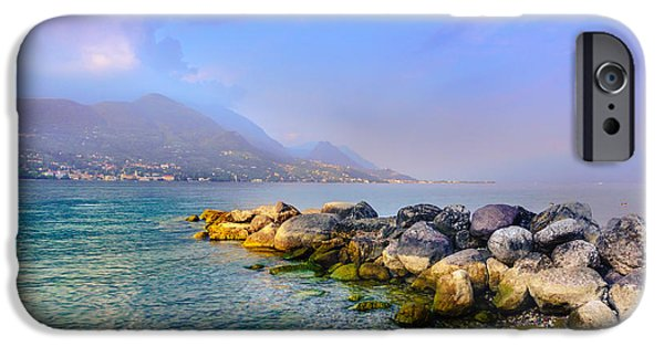 Landmarks Photographs iPhone Cases - Lago di Garda. Stones iPhone Case by Dmytro Korol