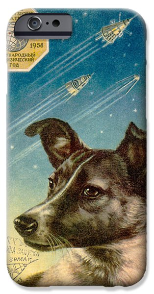 Technological iPhone Cases - Laika The Space Dog Postcard iPhone Case by Detlev Van Ravenswaay