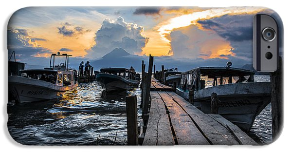 Boats iPhone Cases - Lake Atitlan iPhone Case by Yuri Santin