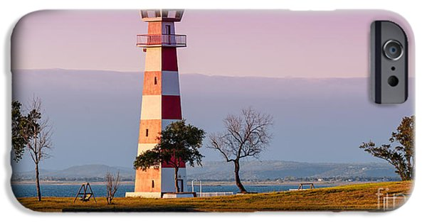 Oak Creek iPhone Cases - Lake Buchanan Lighthouse in Golden Hour Sunset Light - Texas Hill Country iPhone Case by Silvio Ligutti