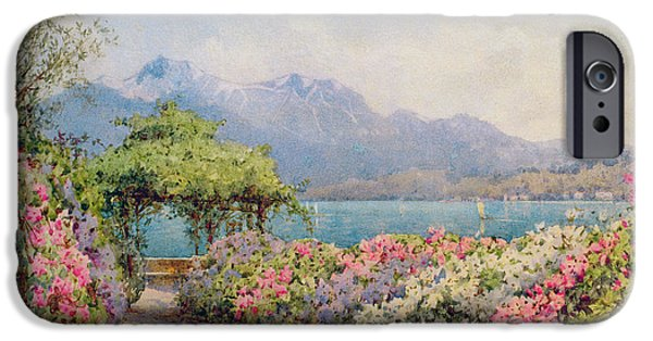 Pathway iPhone Cases - Lake Como from the Villa Carlotta iPhone Case by Ernest Arthur Rowe
