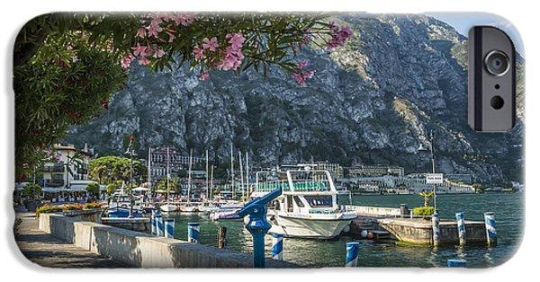 Mountain iPhone Cases - LAKE GARDA Harbour of Limone sul Garda iPhone Case by Melanie Viola