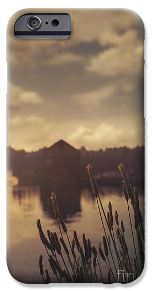 Summer Pyrography iPhone Cases - Lake house iPhone Case by Jelena Jovanovic
