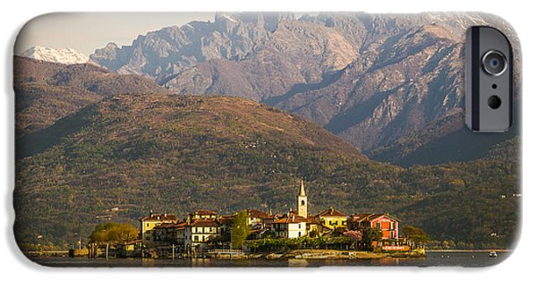 Photographs Tapestries - Textiles iPhone Cases - Lake Maggiore isola dei pescatori iPhone Case by Marco Arduino