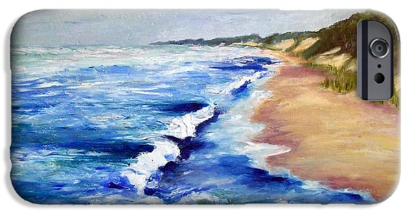 Lake Michigan Paintings iPhone Cases - Lake Michigan Beach with Whitecaps iPhone Case by Michelle Calkins