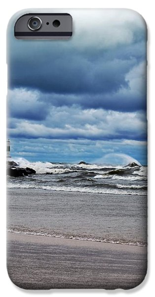 Michelle iPhone Cases - Lake Michigan with Big Wind  iPhone Case by Michelle Calkins
