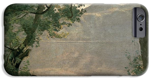 1796 iPhone Cases - Lake Nemi iPhone Case by Jean Baptiste Camille Corot