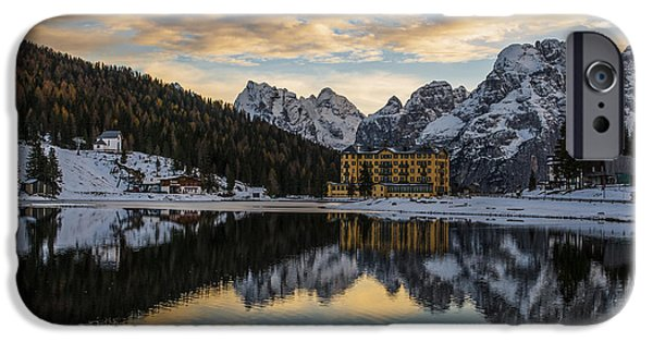 Hotels iPhone Cases - Lake of Misurina iPhone Case by Yuri Santin