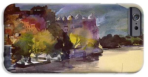 Colour Drawings iPhone Cases - Lake Pichola iPhone Case by Simon Fletcher