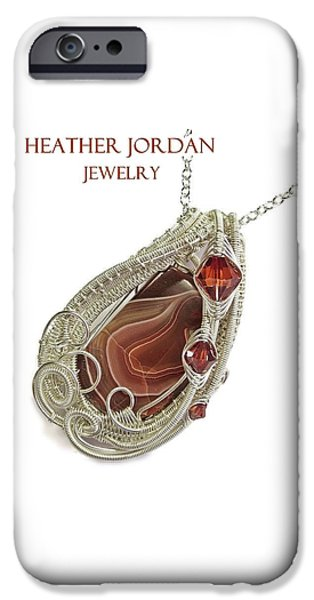 Jordan Jewelry iPhone Cases - Lake Superior Agate Pendant in Sterling Silver with Swarovski Crystal LSAPSS5 iPhone Case by Heather Jordan