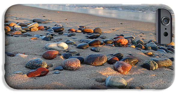 Morning iPhone Cases - Lake Superior Colored Rocks iPhone Case by David T Wilkinson