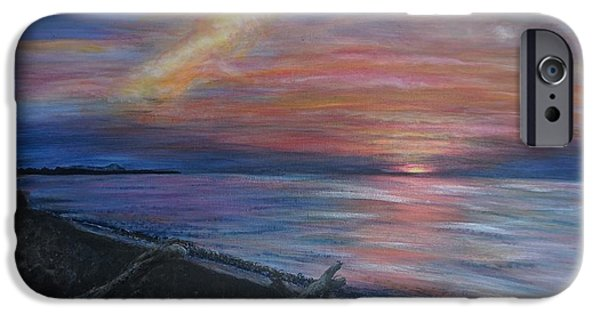 Beach Landscape iPhone Cases - Lake Superior Sunset iPhone Case by Gia McNutt