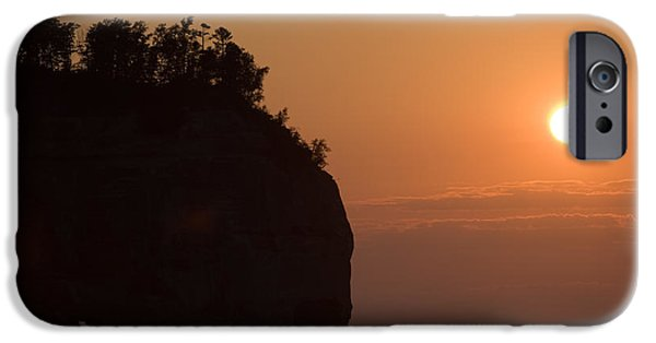 Cliff iPhone Cases - Lake Superior Sunset iPhone Case by Sebastian Musial