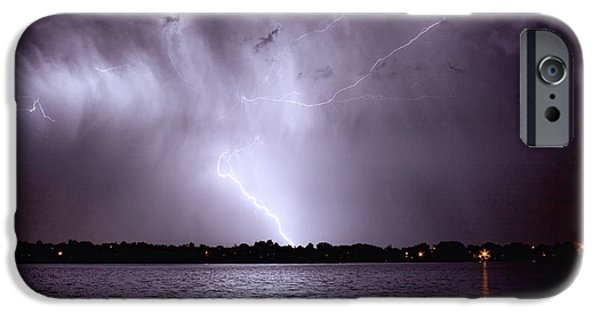 Photography Lightning iPhone Cases - Lake Thunderstorm iPhone Case by James BO  Insogna