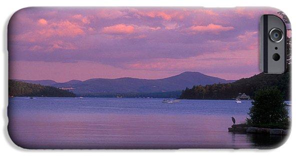 Hampshire iPhone Cases - Lake Winnipesaukee Evening iPhone Case by John Burk