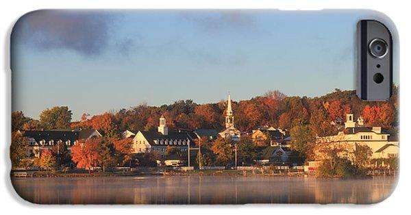 Autumn Foliage Photographs iPhone Cases - Lake Winnipesaukee Meredith Autumn Morning iPhone Case by John Burk