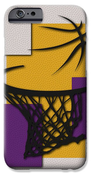 Lakers iPhone Cases - Lakers Hoop iPhone Case by Joe Hamilton