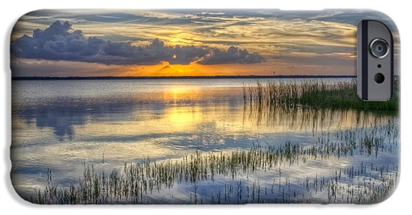 Beach Landscape iPhone Cases - Lakeside at Sunset iPhone Case by Debra and Dave Vanderlaan