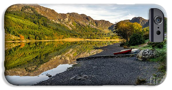 Boat iPhone Cases - Lakeside Autumn iPhone Case by Adrian Evans