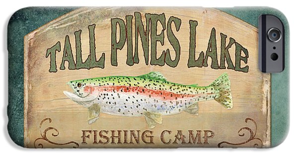 Cabin Interiors iPhone Cases - Lakeside Lodge - Fishing Camp iPhone Case by Audrey Jeanne Roberts