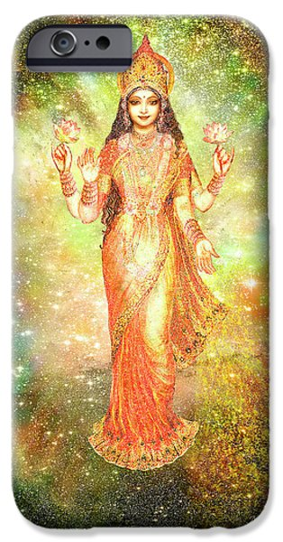 Hindu Goddess iPhone Cases - Lakshmi in a Galaxy  iPhone Case by Ananda Vdovic