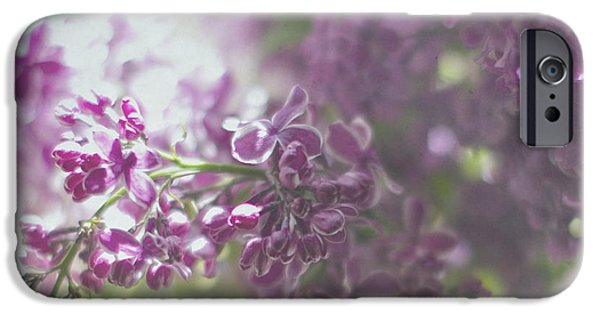 Lilacs iPhone Cases - Lalac Bokeh iPhone Case by Rebecca Cozart