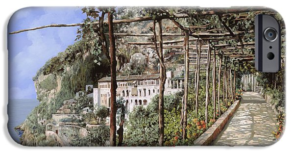 Shadow iPhone Cases - Lalbergo dei cappuccini-Costiera Amalfitana iPhone Case by Guido Borelli