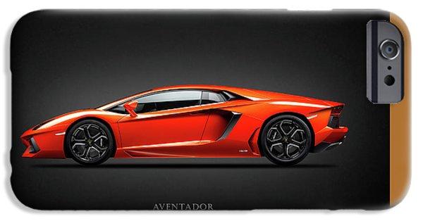 Cars iPhone Cases - Lamborghini Aventador iPhone Case by Mark Rogan