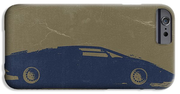 Old Car iPhone Cases - Lamborghini Countach iPhone Case by Naxart Studio