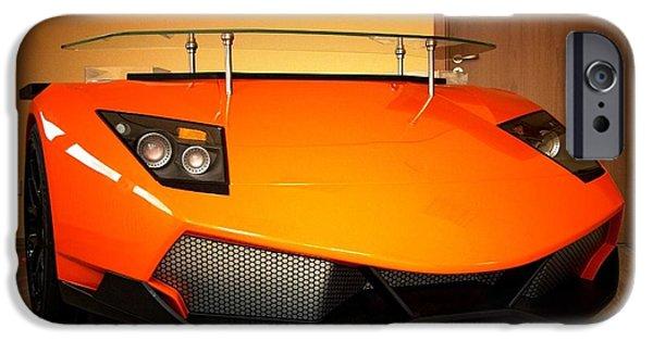 Cars Reliefs iPhone Cases - Lamborghini desk iPhone Case by Piotr Marek