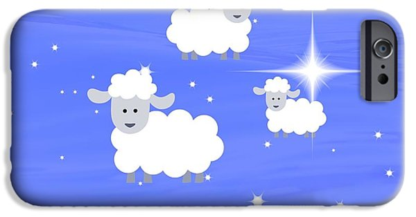 Child Tapestries - Textiles iPhone Cases - Lambs and Stars iPhone Case by Sharon Johnston