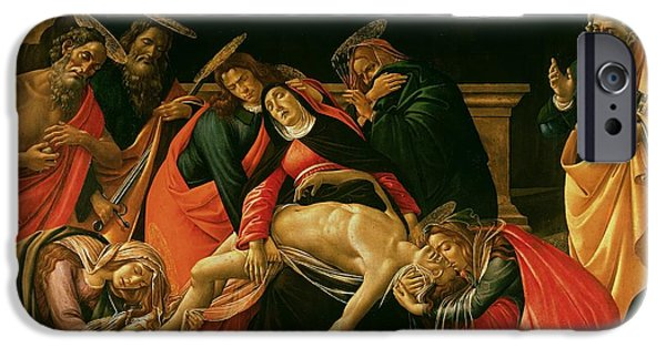 Weeping iPhone Cases - Lamentation of Christ iPhone Case by Sandro Botticelli