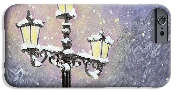 Night Lamp iPhone Cases - Lamp Post In Purple iPhone Case by Jennie Hallbrown